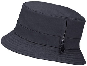 Hermès Vendôme men and women's hat in navy blue winter gabardine with a leather zipper pull: US$440.
