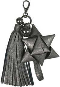 Anya Hindmarch Pewter Crinkle Leather Bedecked Trinket Keyring: £195.