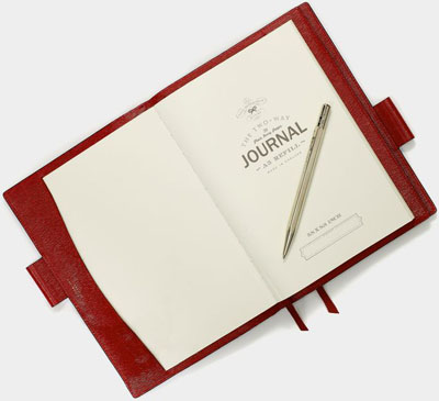 Anya Hindmarch Bespoke A5 Two Way Journal, London Grain in Red: £360.