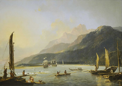 William Hodges' painting of HMS Resolution and HMS Adventure in Matavai Bay, Tahiti.