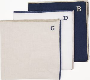 Holland & Sherry Julia B Monogrammed Deauville Pocket Squares: US$80.