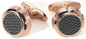 Saint Honoré Paris 18 K gold rose plated, black carbon cufflinks (ref: C22 8NC).