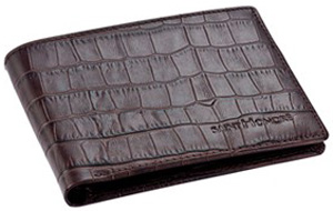 Saint Honoré Paris black leather 'croco design' with brown stiching wallet.