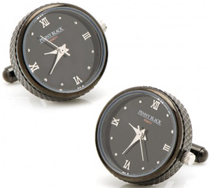 E.B. Horn Black Stainless Steel Functional Watch Cufflinks: US$150.