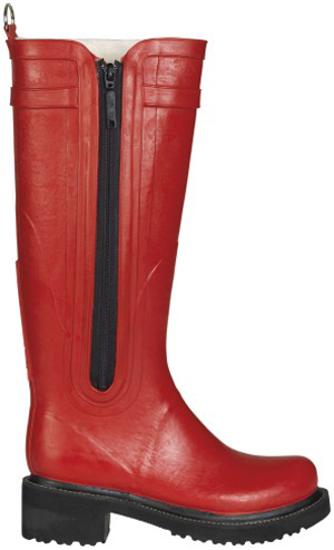 Ilse Jacobsen Hornbæk women's red rain boot with zipper.
