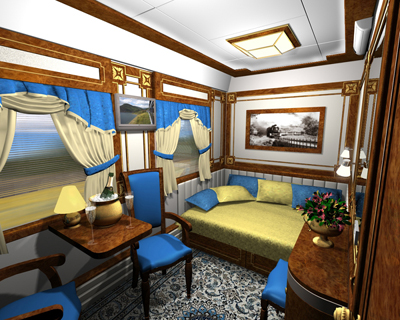 The Imperial Suite of the Golden Eagle Trans-Siberian Express.