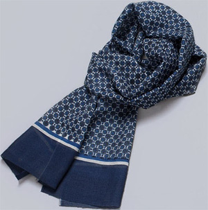 Indchino Klein Blue Patterned Wool Scarf: US$119.