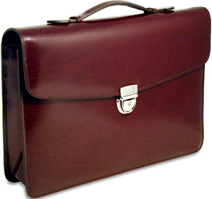 Jack Georges Milano Flapover Leather Briefcase #3501: US$275.