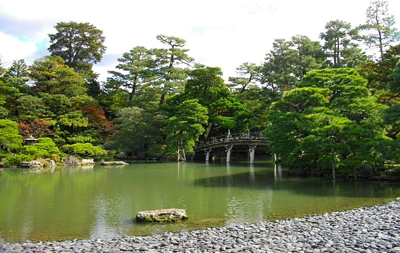 Recreated garden of the old Kyoto Imperial Palace, Japan.
