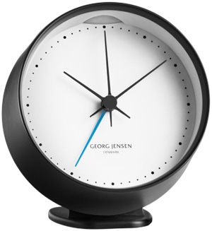 Georg Jensen HK CLOCK w. alarm, black/white, 10 cm: US$155.