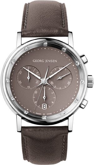 Georg Jensen KOPPEL 417 - 38 mm chronograph, taupe mother-of-pearl dial: US$2,100.