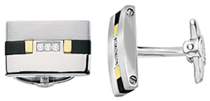 Jewelry.com Dolan Bullock Stainless Steel and 18K Mens Cuff Links: US$210.