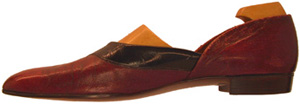 John Lobb Grecian slipper with black patent band.