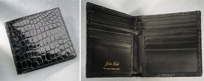 John Lobb Black Crocodile Hip Pocket Wallet.