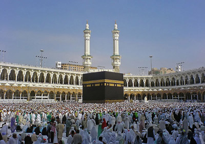 The Kaaba, in Mecca, Saudi Arabia, is the center of Islam.