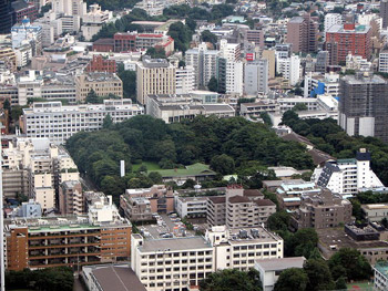 Keio University as seen from Tokyo Tower.