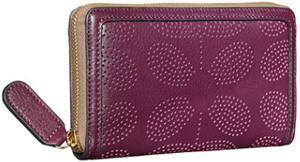 Orla Kiely Sixties Stem Punched Leather Big Zip Wallet: US$208.
