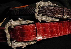 Kieselstein-Cord Alligator Intertwined Small Buckle.