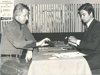 T.I.M.'s founder/owner Kim Weiss (at right) playing against reigning backgammon world champion Phillip Martyn in St. Moritz at the Badrutt's Palace Hotel in January, 1977. Photo: French VOGUE.