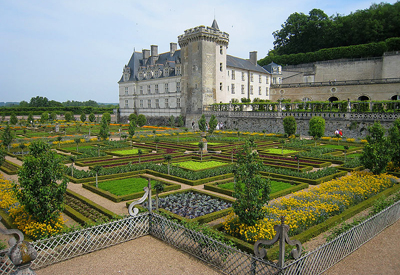 The kitchen garden of Château de Villandry (Indre-et-Loire), France.