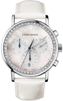 Georg Jensen KOPPEL 417 - 38 mm chronograph, white mother-of-pearl dial: US$4,775.