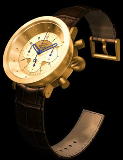 Kronotype limited edition MDQS•2 (V1) yellow gold watch.