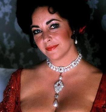 The famous La Peregrina pearl on Elizabeth Taylor.