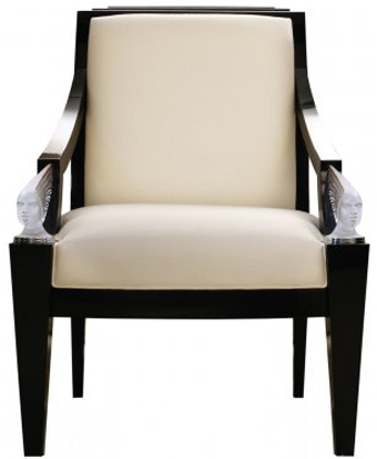 Lalique Victoire fauteuil Black lacquered & ivory silk Clear crystal: €14,300.