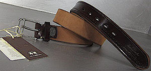 La Martina Genuine Leather Brown Cognac Saddlery Hand Made Exclusive Men's Belt: €77.