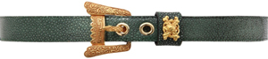 Lotus Art de Vivre Green Galuchat belt with Snake buckle: US$870.