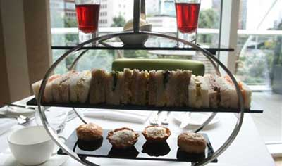 Afternoon Tea at The River Bar at Lowry Hotel, Chapel Wharf, Manchester M3 5LH, England, U.K.
