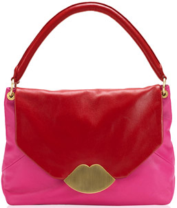 Lulu Guinness Pink and Red Leather Medium Nicola Handbag: £395.