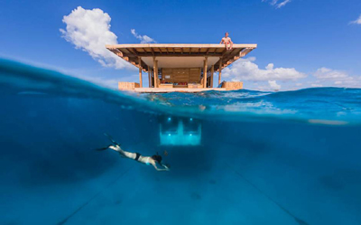 The Manta Resort's Underwater Room.