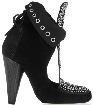 Isabel Marant Mossa studded cutout suede ankle boots: €720.