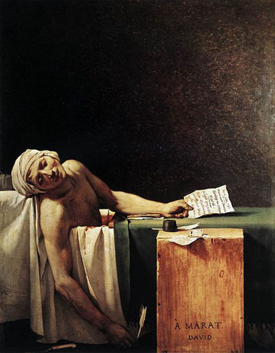 The Death of Marat (1793) by Jacques-Louis David.