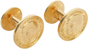 Alexander McQueen Gold Skull Icon Cufflinks: US$290.