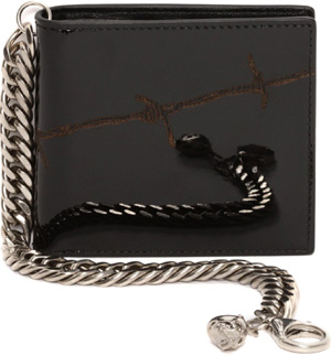 Alexander McQueen Barbed Wire Patent Leather Skull Chain Wallet: US$590.