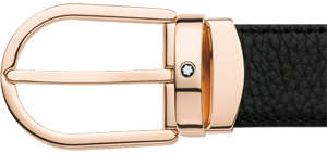 Montblanc Classic shiny red gold-coated horseshoe pin buckle with Montblanc emblem belt: US$280.