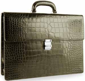 Montblanc Meisterstück Selection racing green alligator leather bag with diamond embellished clasp: £31,000.