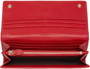 Mulberry Women's Bow Continental Bright Red Shiny Goat Wallet: US$500.