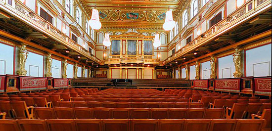 Goldener Saal in the Wiener Musikverein designed by Danish architect Theophil Hansen in the Neoclassical style of an ancient Greek temple inaugurated on January 6, 1870.