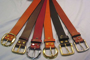 Narragansett 1½-inch belts with solid brass buckles.