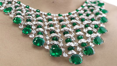 Diamond and emerald necklace by Chopard.