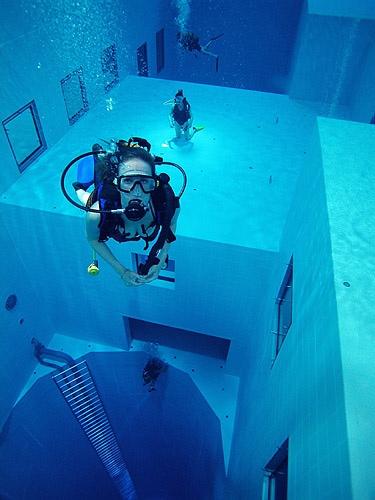 World's deepest indoor swimming pool: Nemo 33, Brussels, Belgium.