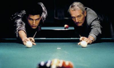 Paul Newman and Tom Cruise shooting 9-ball pool in the movie The Color of Money.