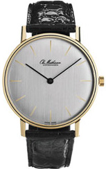 Ole Mathiesen 18 carat solid goldcase, ultra thin quartz watch, black crocodile strap, diameter 35mm, height 5.5mm.
