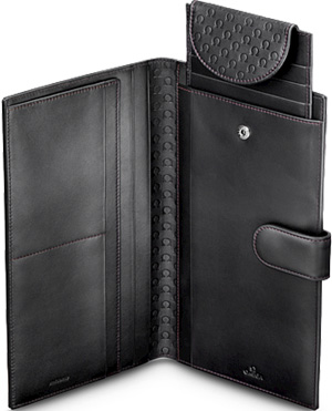 Omega Men's Travel Wallet, 'Symbol', black.