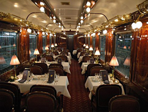 The restaurant car of the Venice-Simplon Orient Express.