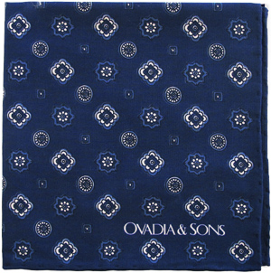 Ovadia & Sons Indigo Medallion Print Pocket Square: US$75.