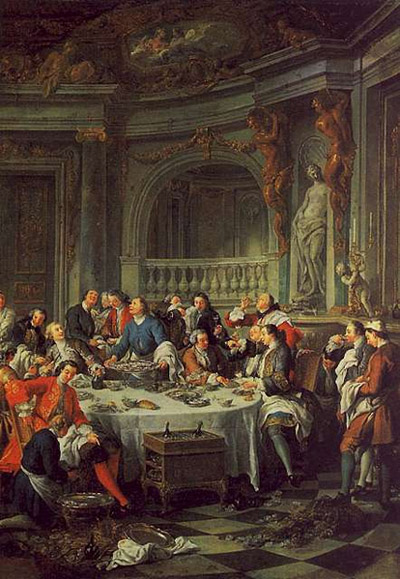 Jean François de Troy's 1735 painting Le Déjeuner d'Huîtres (The Oyster Luncheon) is the first known depiction of Champagne in painting.